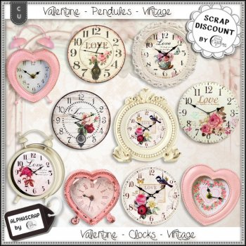 Clocks - Valentine's day - Vintage