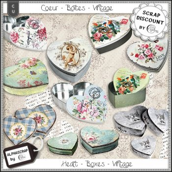 Hearts - Boxes - Vintage- Metal 4