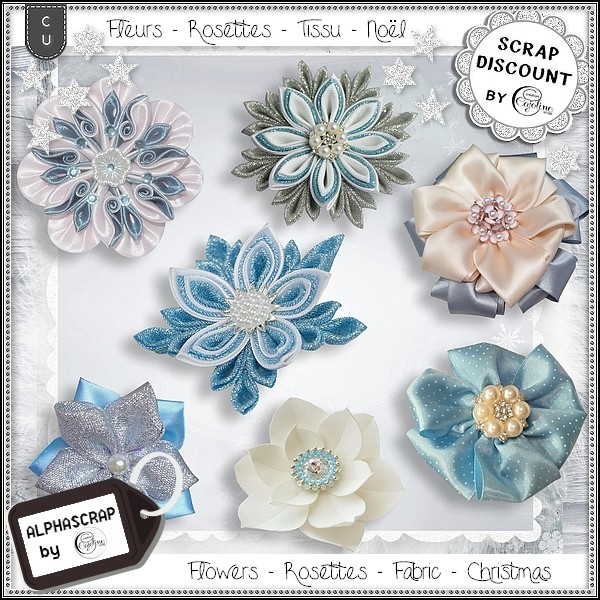 Flowers - Rosettes - Fabric - Christmas 3