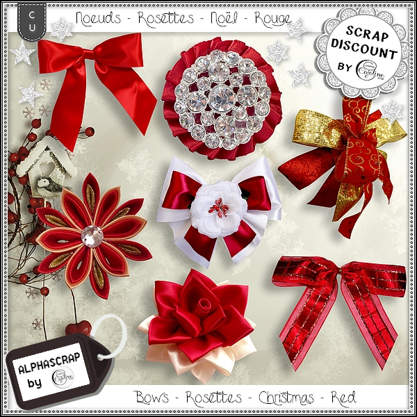 Bows - Rosettes - Christmas - Red 1