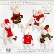 Mice - Christmas - felt - wool 1