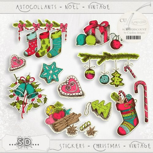 Stickers - Christmas - Vintage 1