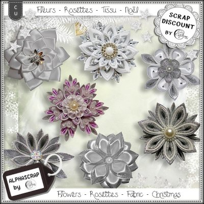 Flowers - Rosettes - Fabric - Christmas 2