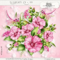 Elements cu - 410 Pink flowers and dragonflies