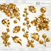 Holly - Christmas - Gold