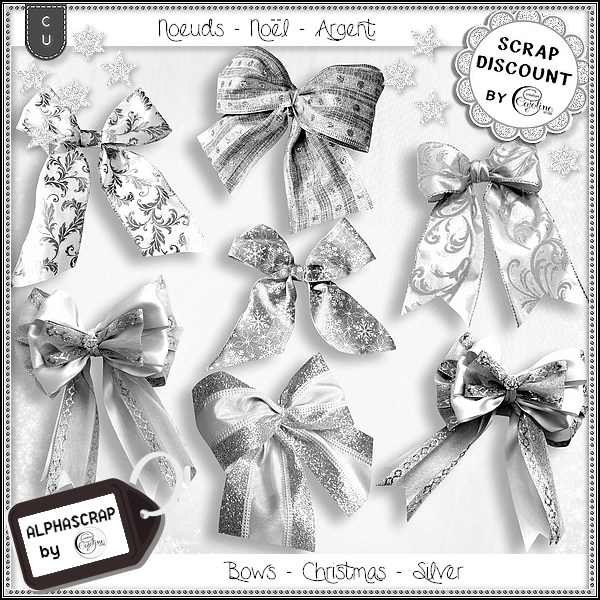 Bows - Christmas - Silver