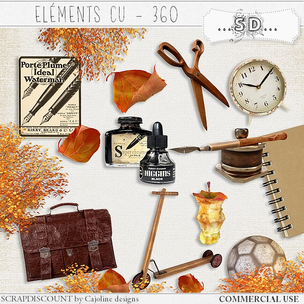 Elements CU - 360 Vintage school supplies