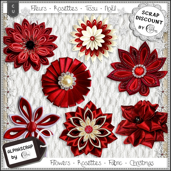 Flowers - Rosettes - Fabric - Christmas 1