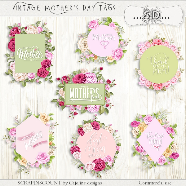 Mother's day - vintage roses tags 1