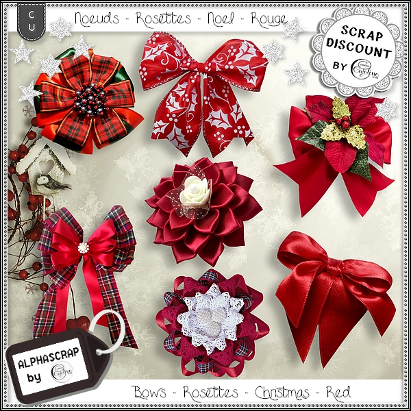 Bows - Rosettes - Christmas - Red 2