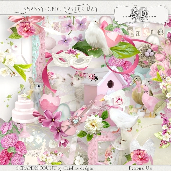 Shabby chic Easter day PU-S4H full size kit