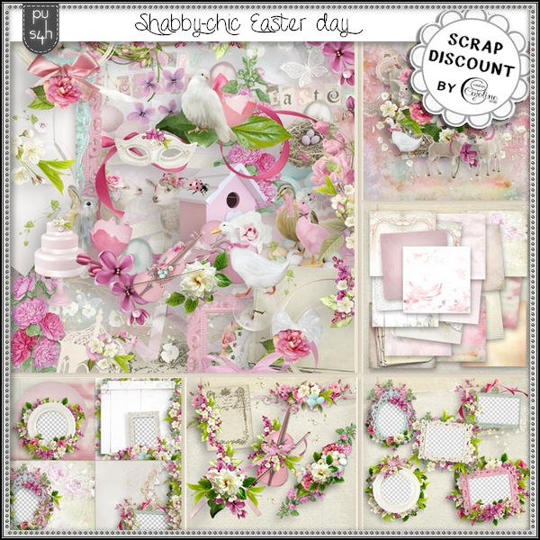 Shabby chic Easter day - stacked papers - Click Image to Close